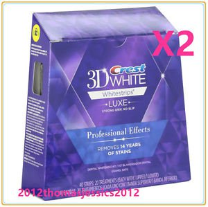 2 X Boxes Crest 3D WHITE Whitestrips LUXE Professional Effects 80 strips