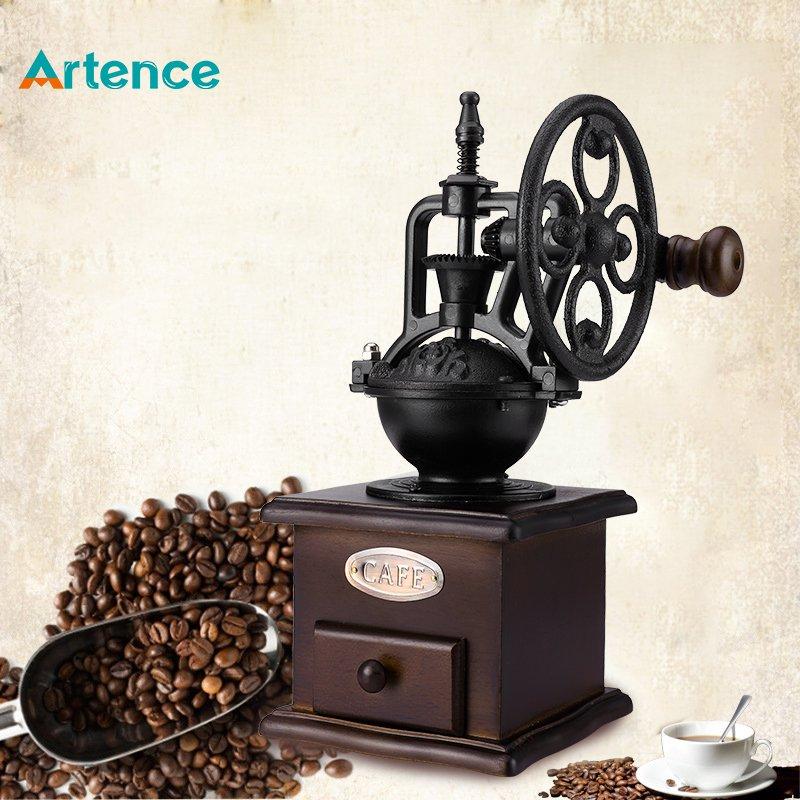 Ferris Wheel Design Vintage Manual Coffee Grinder With Ceramic Movement Retro Wooden Coffee Mill