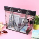 Womens Jelly Clear Transparent Tote PU Leather Chain Single Shoulder Bag Handbag