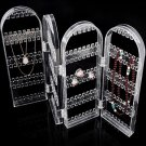 Transparent Plastic Folding Screen Earring Jewelry Display Stand Holder Rack