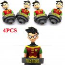 "4Pcs DC Comics TEEN TITANS GO! Action Figure 3"" ROBIN TOY Loose HEROES UNIVERSE"