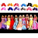 Lot 10 Dresses Clothes Clothing & 12 Shoes For Barbie Dolls Girl's Xmas Gifts