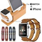Leather Double Buckle Cuff Band Strap Stand for Apple Watch 42/38 mm iPhone 7