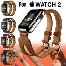 Double Buckle Cuff Bracelet Leather Strap Wrist Band For Apple Watch 38mm/42mm