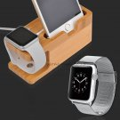 Stainless Steel Band+Bamboo Wood Charging Dock Sation for Apple Watch iPhone 8 7