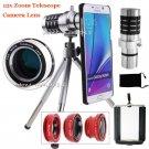 12x Zoom Telescope Lens+Fisheye Macro for Samsung Galaxy S8+ S7 Edge S6 Note 5 4