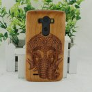 Natural Crown Elephant Cherry Wood Bamboo Hard Cover Case for LG G2/G3/G4/G5