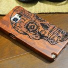 Natural Wooden Wood Carve Phone Case Cover Skull For Samsung Galaxy S7 S6 Note 5