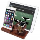 Rose Wood Charging Dock Station Stand Holder For Apple Watch iPhone 8/7/SE/i Pad