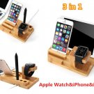 3in1 Bamboo Charging Dock Charger Stand Holder For Apple Watch iPhone 8 iPad Pro