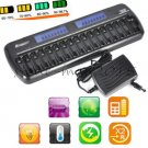 16 slots Protect LCD Smart Battery Charger for AA AAA Ni-MH Ni-Cd bay Bank