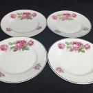 BAVARIA set of 4 Pink Shabby Roses Vintage Porcelain Bread Dessert Saucer PLATE