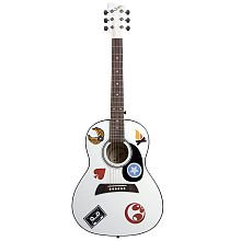 First Act 36 Inch White Acoustic Guitar with Stickers - First Act