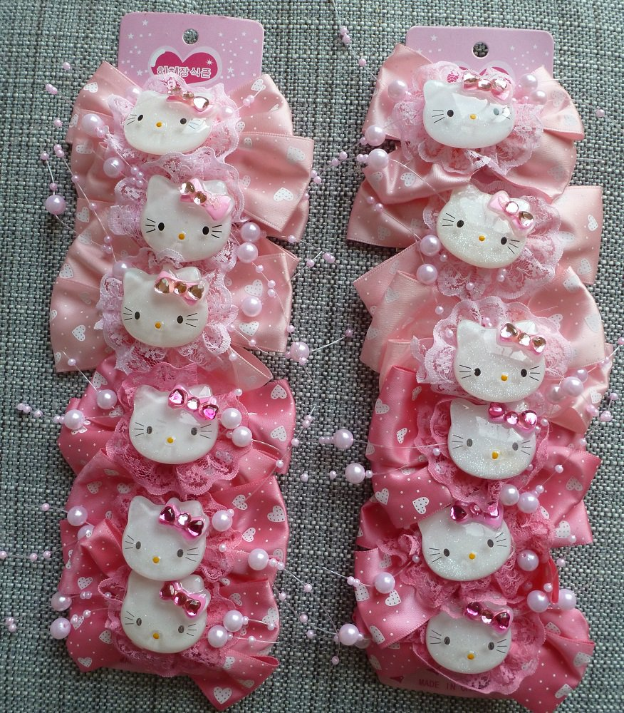 12 Hello Kitty Hair Ornament Clips Bows in Pink for Girls