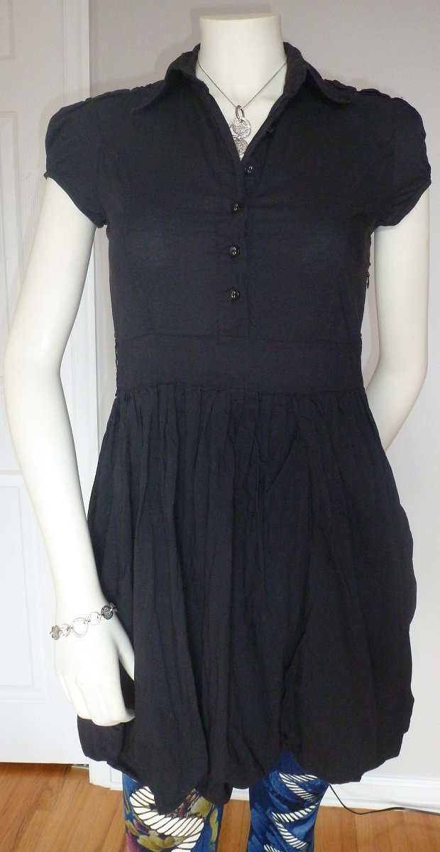 Casual Chic Black Dress by Cotton Express Size M Semi-Shirt Cap Sleeve A-line Above Knee