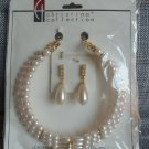 Christina Collection Three Strand Pearl Necklace and Dangling Earring Set Cream Steel in Gold Tone