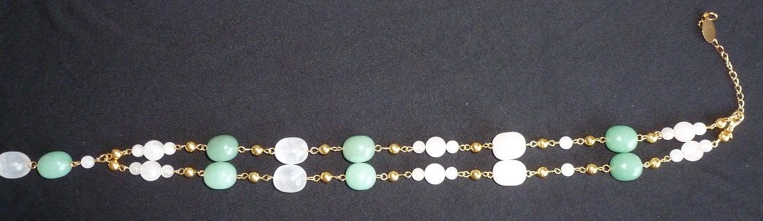 Genuine Rose quartz and Aventurine Gemstone Bead Necklace Gold tone Adjustable