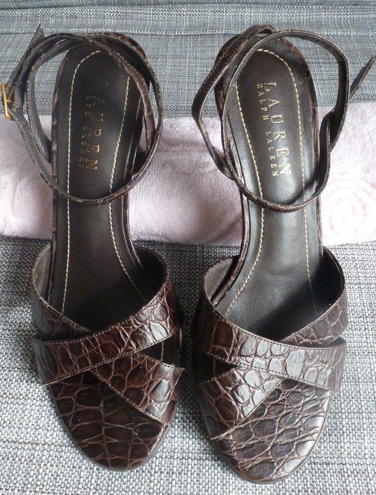 """Ralph Lauren High Heel Leather Crocodile Print Shoe 2.5"""" medium heel"""