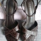 "Ralph Lauren High Heel Leather Crocodile Print Shoe 2.5"" medium heel"