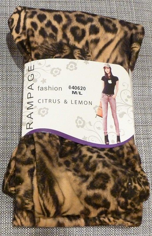 RAMPAGE Golden Orange Gray Tiger Leopard Print Thick Fleece Legging