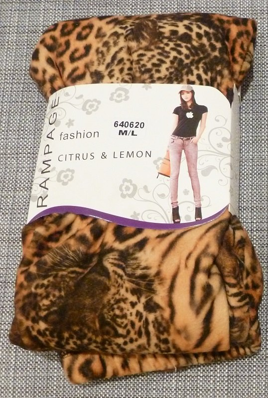 RAMPAGE Golden Orange Tiger Leopard Print Thick Fleece Legging Citrus and Lemon