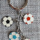 Multi color Soccer Football Metal Keychain in Silver tone Black Pink Blue Red