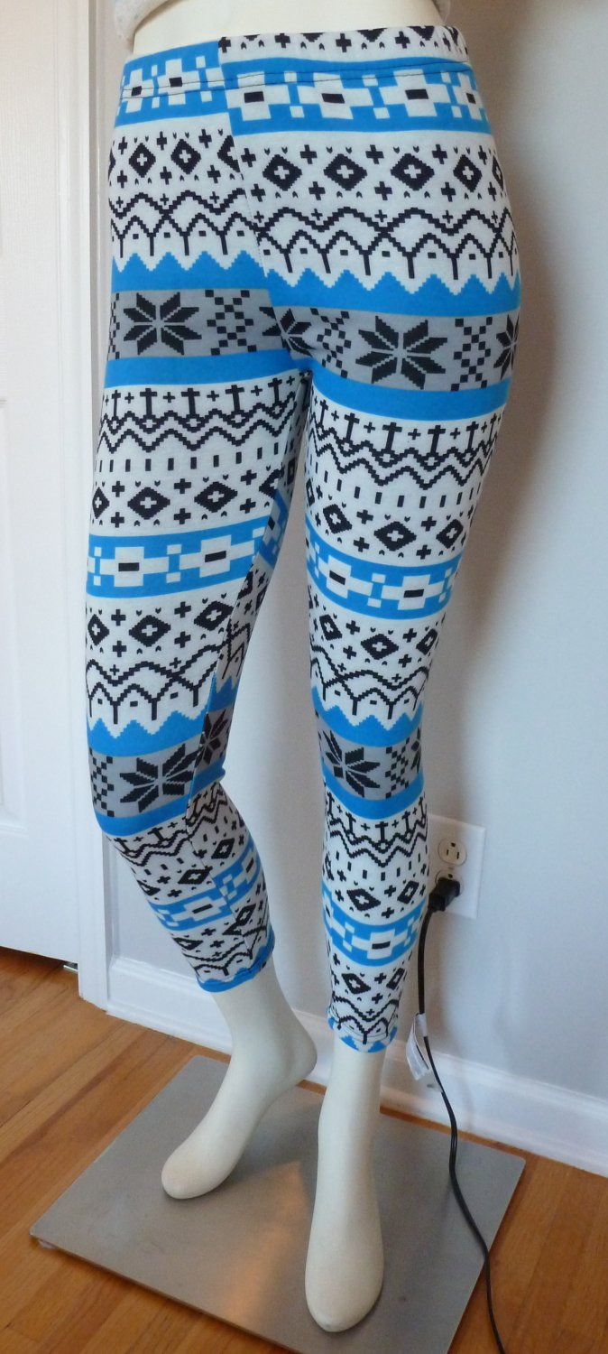New Size M/L Black Blue White Snowflakes Legging Thick Fabric Warm Winter Wonderland Holiday