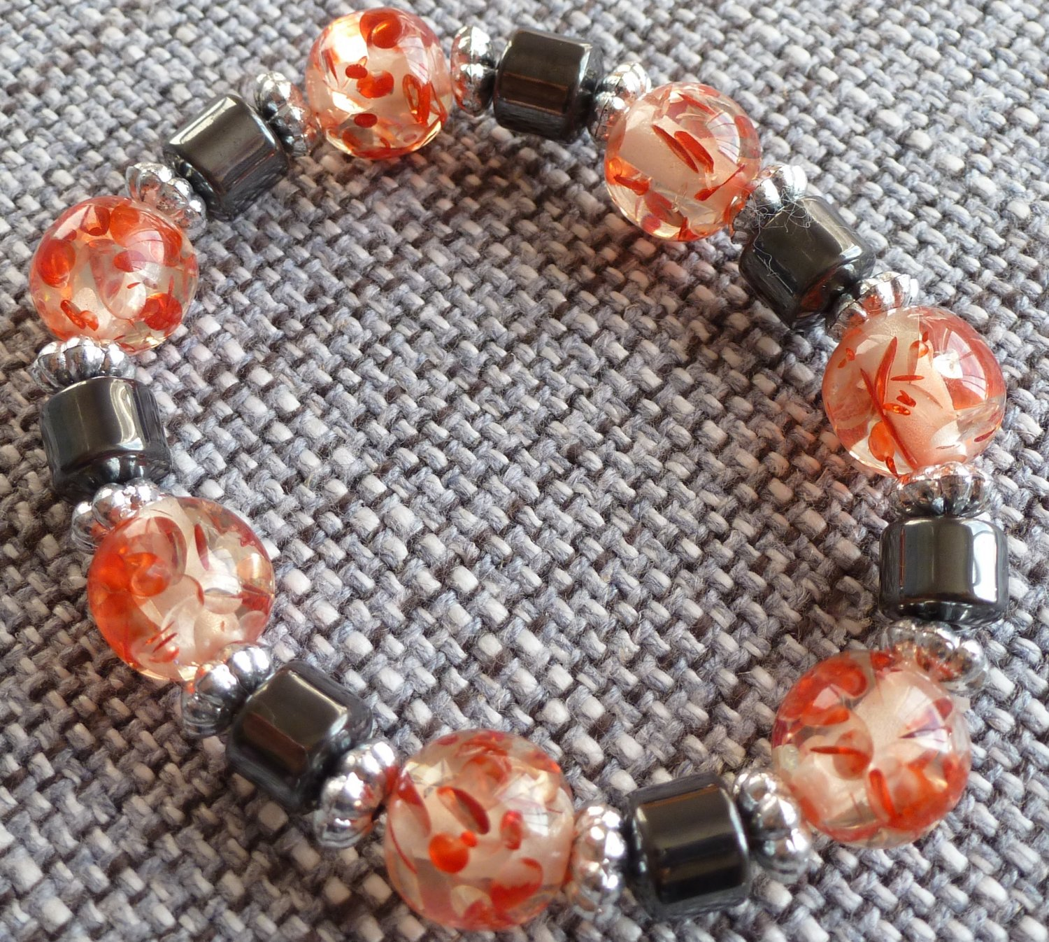 Gorgeous Red Glass Bead and Black Hematite Bracelet Adjustable 6 inch - 8 inch