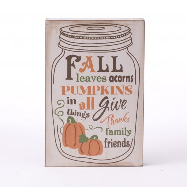 Glitzhome Wooden Fall & Harvest Word Sign Wall Decor