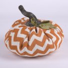 Glitzhome Large Chevron Plush Burlap Pumpkin Decor For Fall & Harvest Season