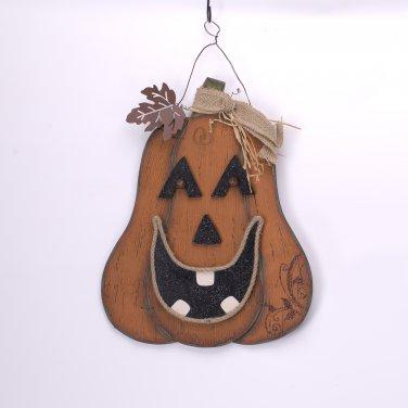 Glitzhome Handmade Halloween Wooden Smiling Pumpkin Wall Decor