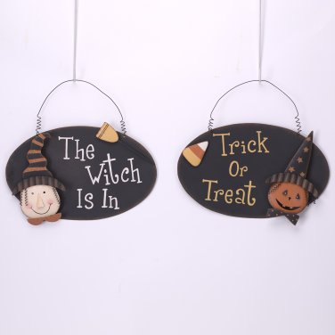 Glitzhome Handmade Halloween Iron Pumpkin/Witch Sign Hanging Wall Decor, Set of 2