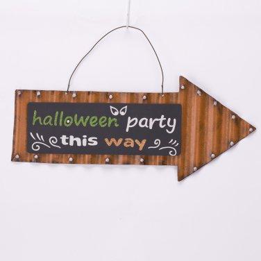 Glitzhome Handmade Halloween Iron Arrow Sign Party Guidance Wall Decor