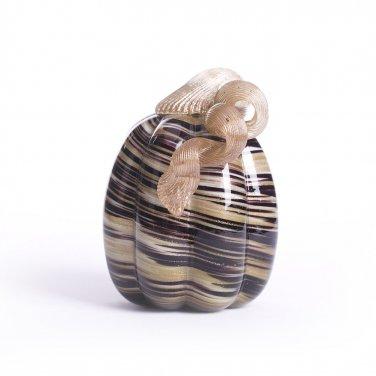 "Glitzhome 5.91"" Handblown Brown/Gold Stripe Decorative Glass Pumpkin"