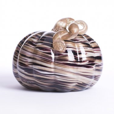 "Glitzhome 6.69"" Handblown Brown/Gold Stripe Decorative Glass Pumpkin"