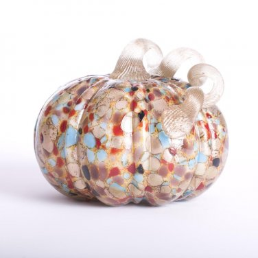"Glitzhome 5.12"" Handblown Multi Dots Table Accent Glass Pumpkin for Halloween/Thanksgiving Decoratin"