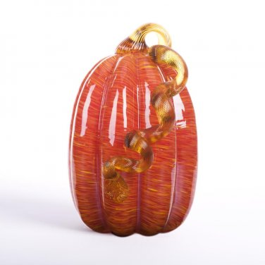 "Glitzhome 9.06"" Handblown Red Stripe Table Decoration Glass Pumpkin"