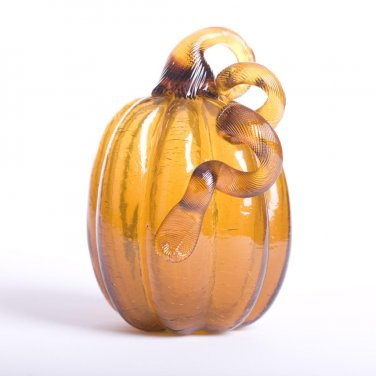 "Glitzhome 6.3"" Handblown Amber Crackle Glass Pumpkin for Fall/Harvest Decorating"