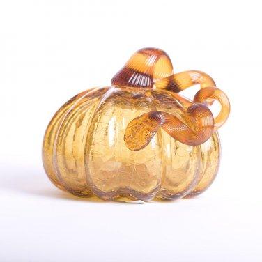 "Glitzhome 5.51"" Handblown Amber Crackle Glass Pumpkin for Fall/Harvest Decorating"