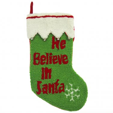"""Glitzhome 19"""" Hooked Christmas Stocking with We Believe In Santa"""