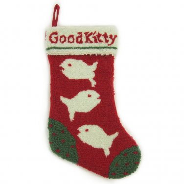 """Glitzhome 19.5"""" Hooked Christmas Stocking with Good Kitty"""