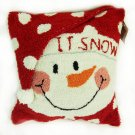 "Glitzhome 14"" X 14"" Hooked Pillow with Snowman"