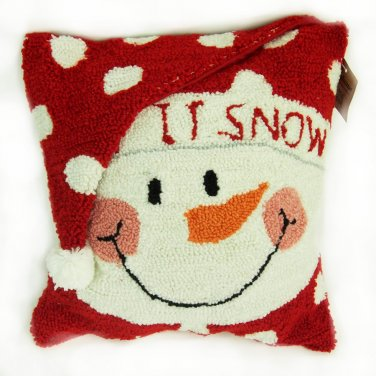 """Glitzhome 14"""" X 14"""" Hooked Pillow with Snowman"""
