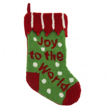 "Glitzhome 19"" Hooked Christmas Stocking with Joy to the World"