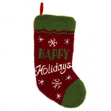 "Glitzhome 19"" Hooked Christmas Stocking with Happy Holidays"
