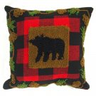 "Glitzhome 14"" X 14"" Plaid Pillow with Hooked Bear"