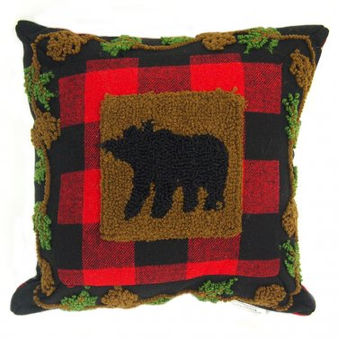 """Glitzhome 14"""" X 14"""" Plaid Pillow with Hooked Bear"""