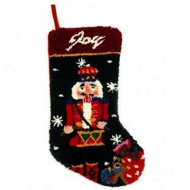 "Glitzhome 19"" Hooked Christmas Stocking with Nutcracker"