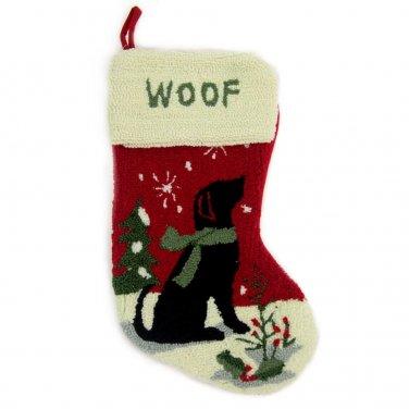 "Glitzhome 19"" Hooked Christmas Stocking with Dog"