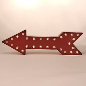 "Glitzhome 15.98"" Marquee LED Lighted Red Arrow Sign Battery Operated, Red"